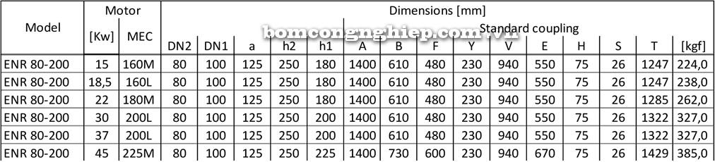 Kích thước Máy bơm công nghiệp Ebara ENR 80 200