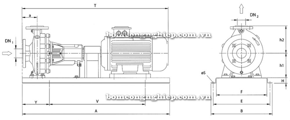 Chi tiết kích thước Máy bơm công nghiệp Ebara ENR 50 200