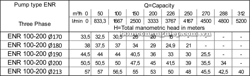 Lưu lượng cột áp Máy bơm công nghiệp Ebara ENR 100 200