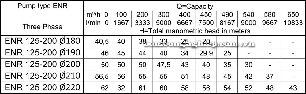 Lưu lượng cột áp Máy bơm công nghiệp Ebara ENR 120 200