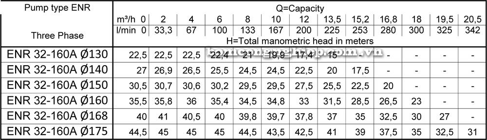 Lưu lượng cột áp Máy bơm công nghiệp Ebara 32 160A