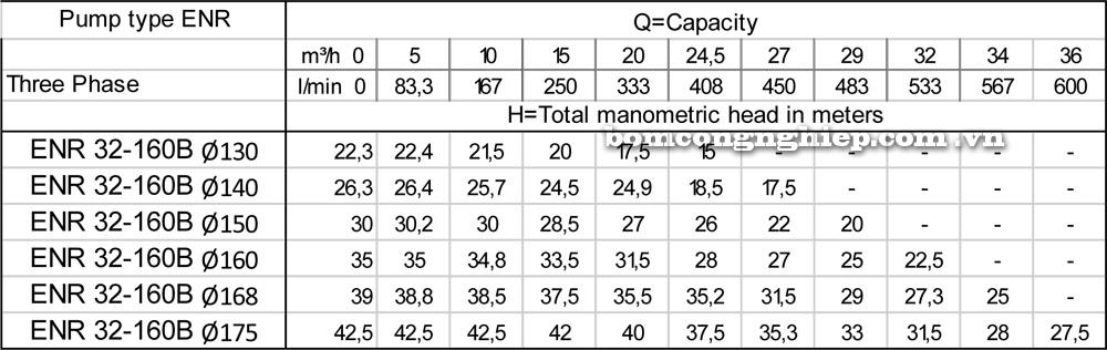 Lưu lượng cột áp Máy bơm công nghiệp Ebara ENR 32 160 B