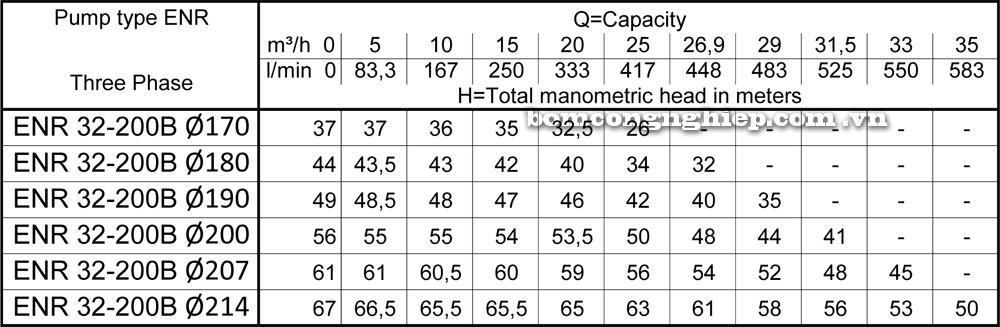 Lưu lượng cột áp Máy bơm công nghiệp Ebara ENR 32 200B