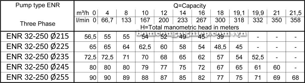 Lưu lượng cột áp Máy bơm công nghiệp Ebara ENR 32 250