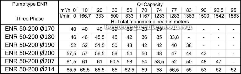 Lưu lượng cột áp Máy bơm công nghiệp Ebara ENR 50 200
