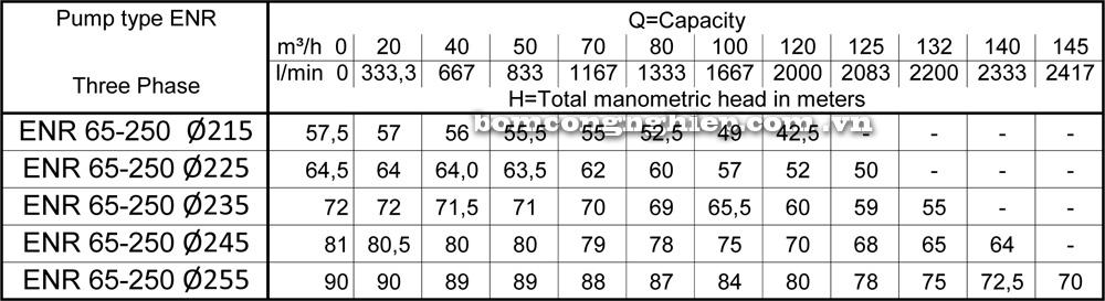 Lưu lượng cột áp Máy bơm công nghiệp Ebara ENR 65 250