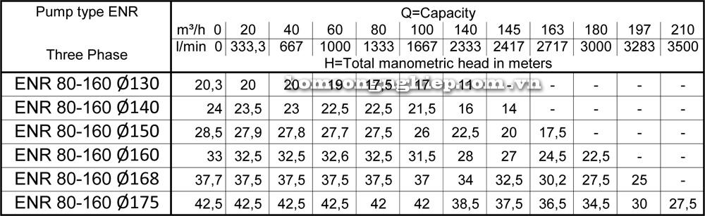 Lưu lượng cột áp Máy bơm công nghiệp Ebara ENR 80 160