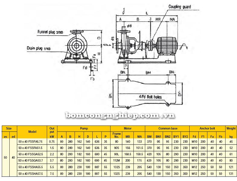 Máy bơm công nghiệp Ebara FSSA 50 x 40 bảng thông số kích thước