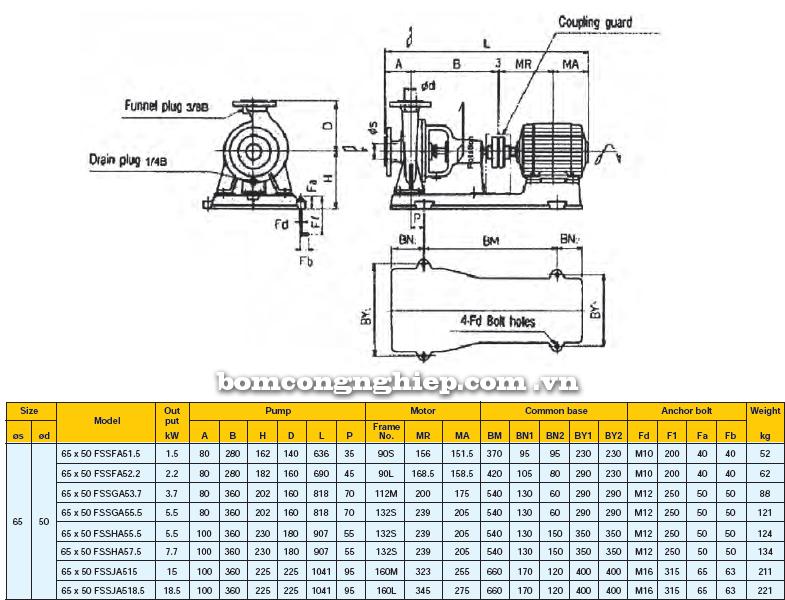 Máy bơm công nghiệp Ebara FSSA 65 x 50 bảng thông số kích thước