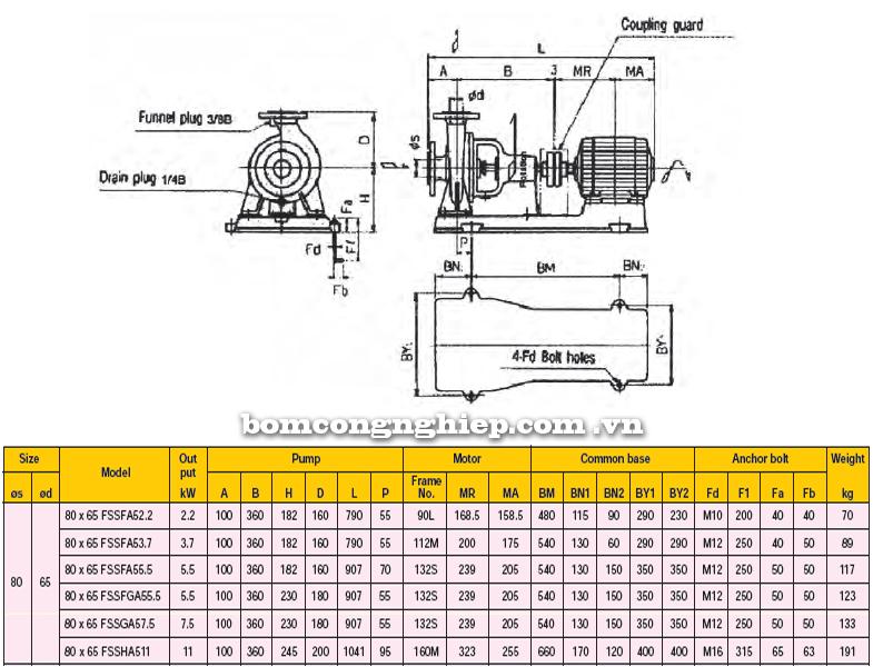 Máy bơm công nghiệp Ebara FSSA 80 x 65 bảng thông số kỹ thuật