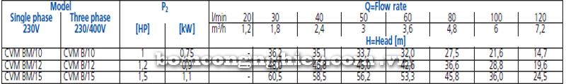 Máy bơm nước trục đứng Ebara CVM B10-15 bảng thông số kỹ thuật