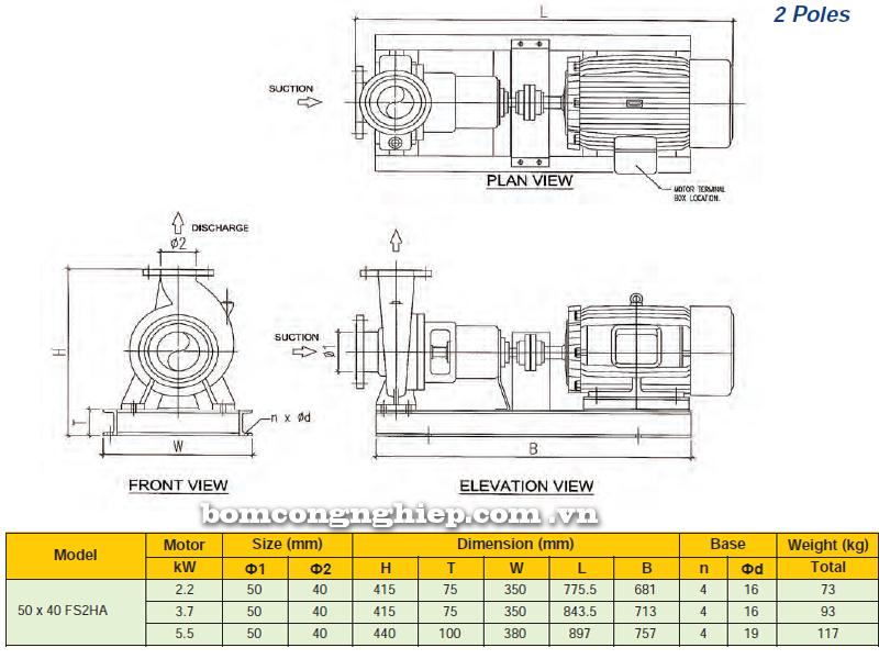 Máy bơm nước trục rời Ebara FSA 50 x 40 FS2HA bảng thông số kích thước