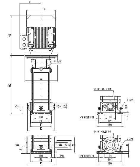 Máy bơm trục đứng Ebara EVM 10 kích thước