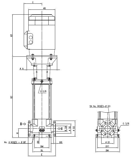 Máy bơm trục đứng Ebara EVM 64 kích thước