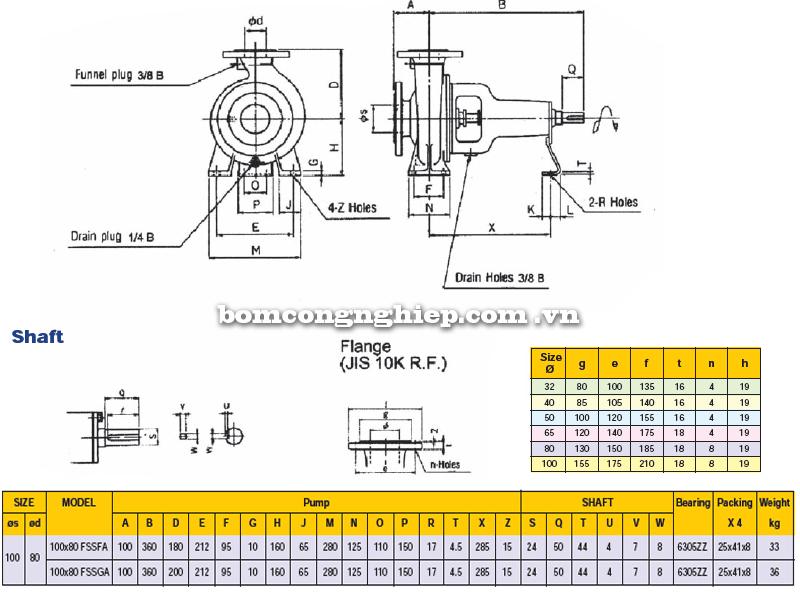 Máy bơm trục rời Ebara FSSA 100 x 80 bảng thông số kích thước
