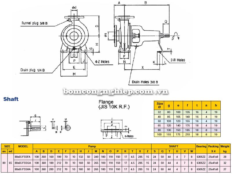 Máy bơm trục rời Ebara FSSA 80 x 65 bảng thoog số kích thước