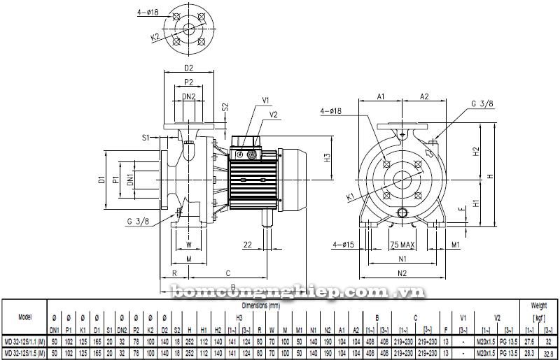 Máy bơm cao áp Ebara MD 32-125 bảng thông số kích thước
