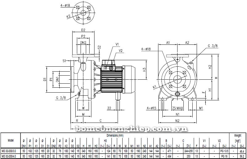 Máy bơm cao áp Ebara MD 32-200 bảng thông số kích thước
