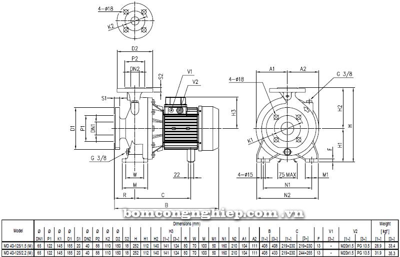 Máy bơm cao áp Ebara MD 40-125 bảng thông số kích thước