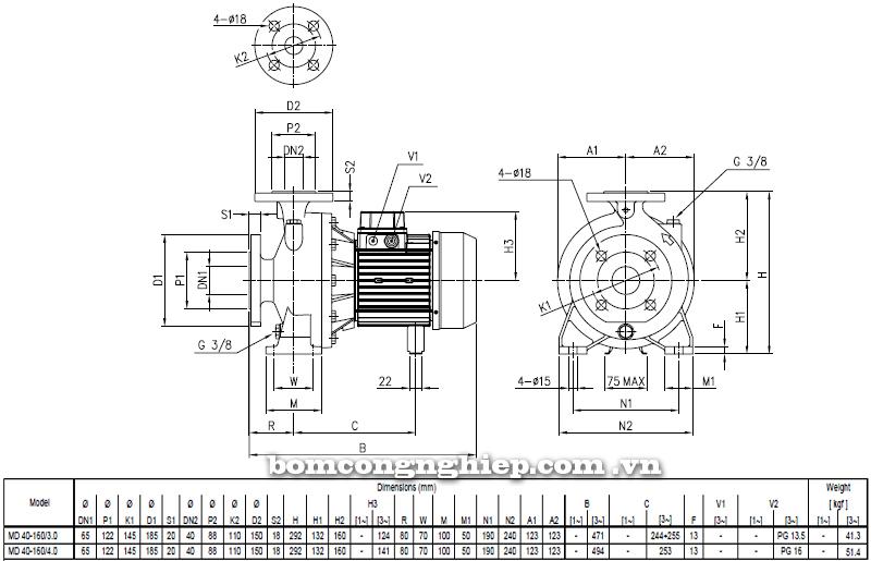 Máy bơm cao áp Ebara MD 40-160 bảng thông số kích thước