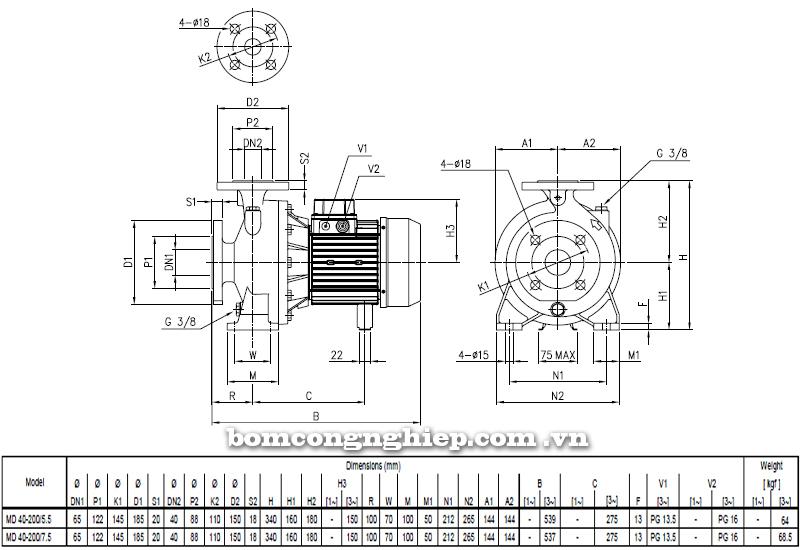 Máy bơm cao áp Ebara MD 40-200 bảng thông số kích thước