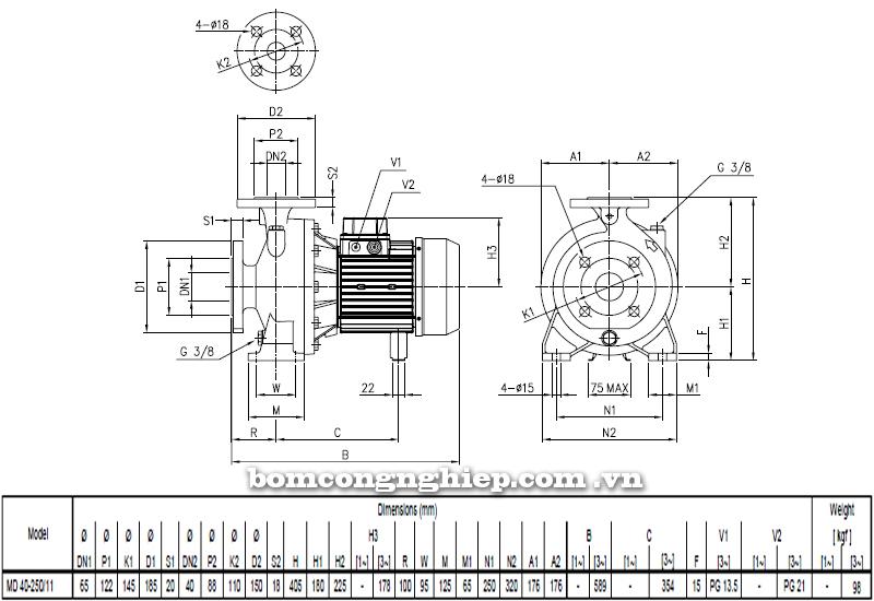 Máy bơm cao áp Ebara MD 40-250 bảng thông số kích thước