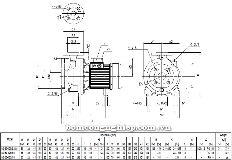 Máy bơm cao áp Ebara MD 50-125 bảng thông số kích thước