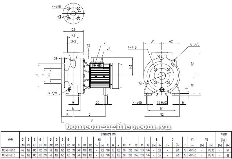 Máy bơm cao áp Ebara MD 50-160 bảng thông số kích thước