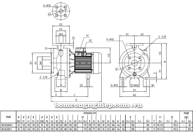 Máy bơm cao áp Ebara MD 50-200 bảng thông số kích thước