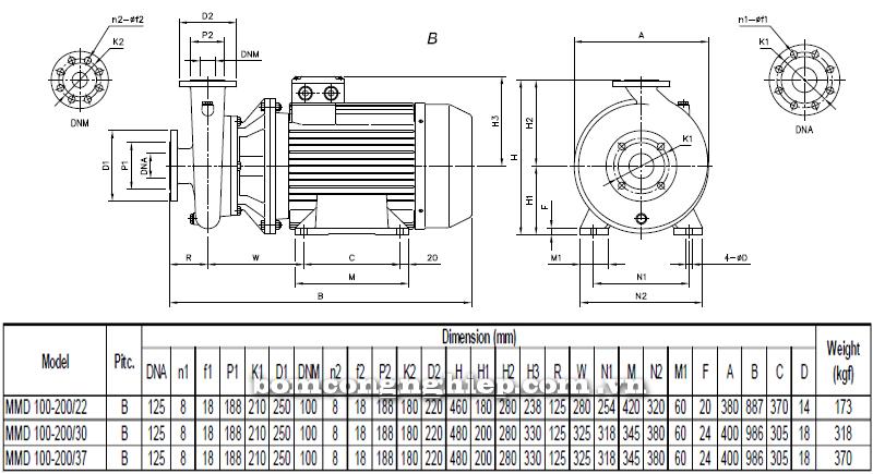 Máy bơm cao áp Ebara MMD 100-200 bảng thông số kích thước