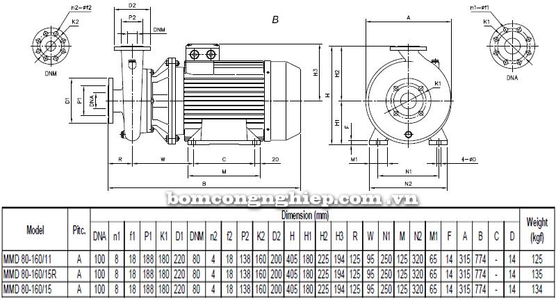 Máy bơm cao áp Ebara MMD 80-160 bảng thông số kích thước