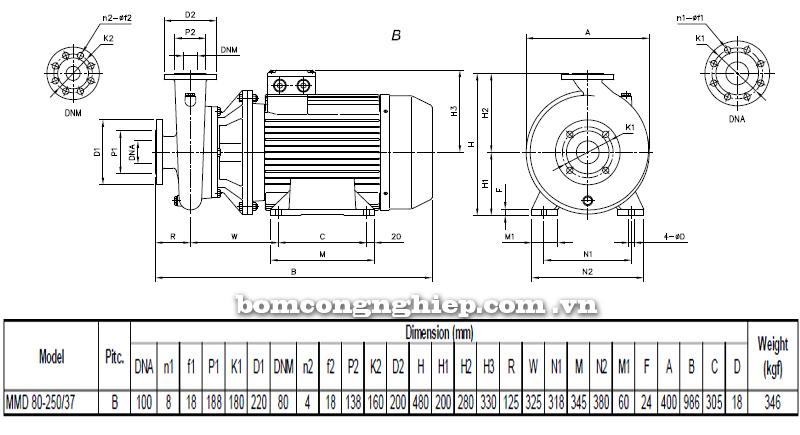 Máy bơm cao áp Ebara MMD 80-250 bảng thông số kích thước