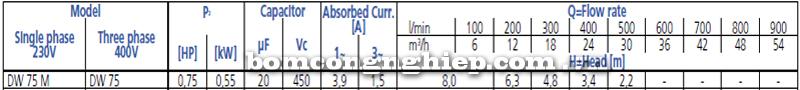 Máy bơm chìm nước thải Ebara DW 75 bảng thông số kỹ thuật