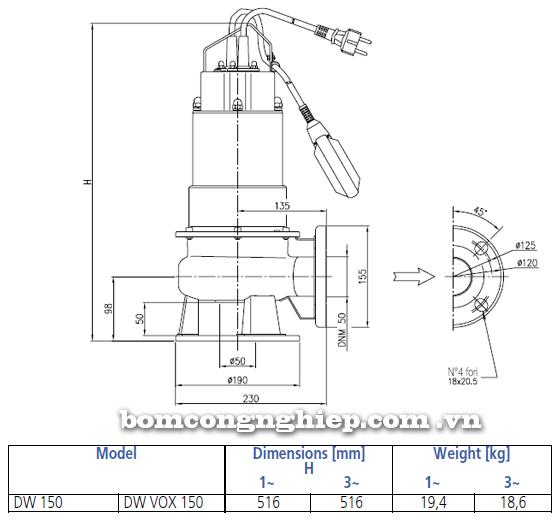 Máy bơm chìm nước thải Ebara DW VOX 150 bảng thông số kích thước