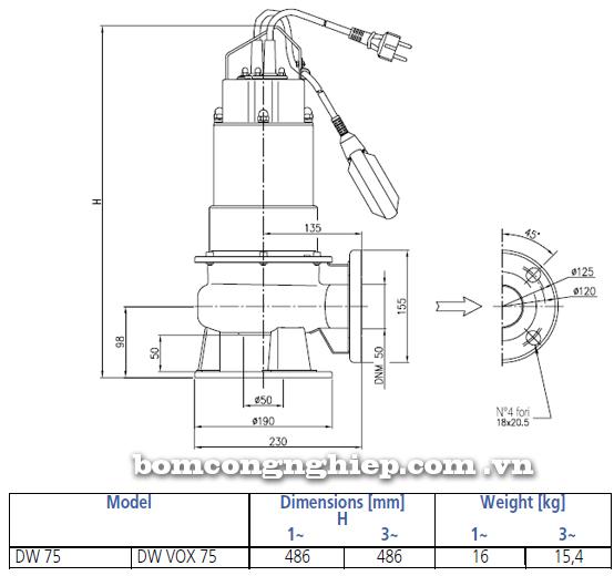 Máy bơm chìm nước thải Ebara DW VOX 75 bảng thông số kích thước
