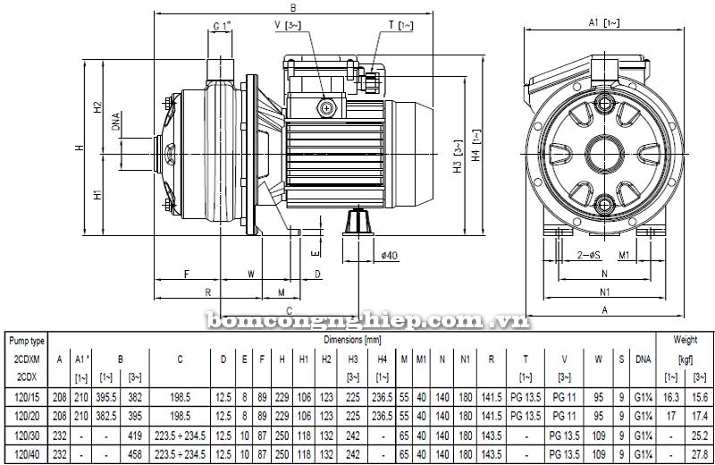 Máy bơm ly tâm Ebara 2CDX-120 bảng thông số kích thước