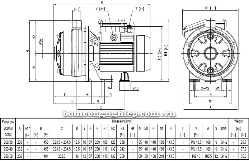 Máy bơm ly tâm Ebara 2CDX-200 bảng thông số kích thước
