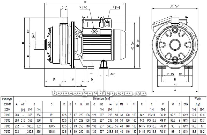 Máy bơm ly tâm Ebara 2CDX-70 bảng thông số kích thước