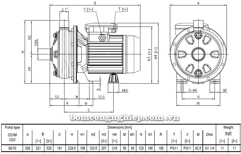 Máy bơm ly tâm Ebara CDX-90 bảng thông số kích thước