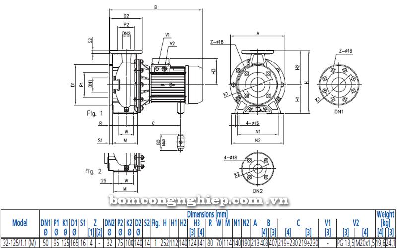 Máy bơm nước Ebara 3M 32-125 bảng thông số kích thước
