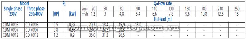 Máy bơm nước Ebara CD-70 bảng thông số kỹ thuật