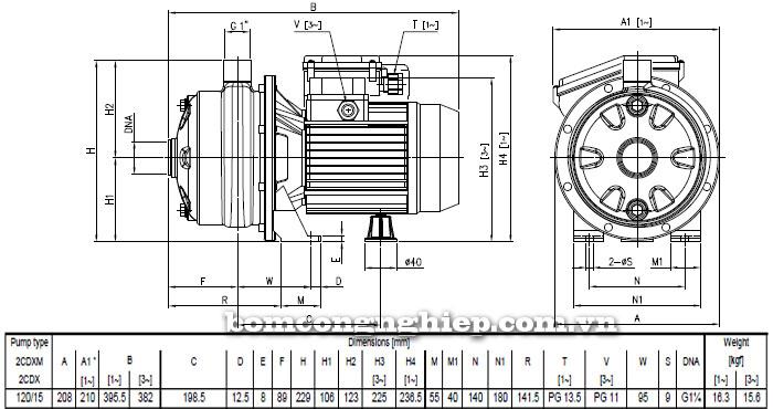 Máy bơm Ebara 2CDX 120/15 bảng thông số kích thước