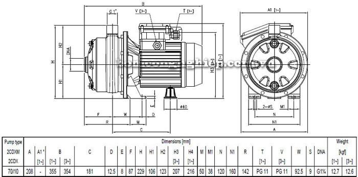 Máy bơm Ebara 2CDX 70/10 bảng thông số kích thước
