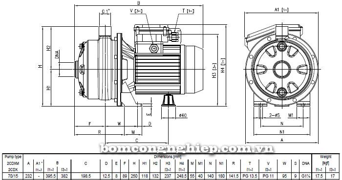 Máy bơm Ebara 2CDX 70/15 bảng thông số kích thước
