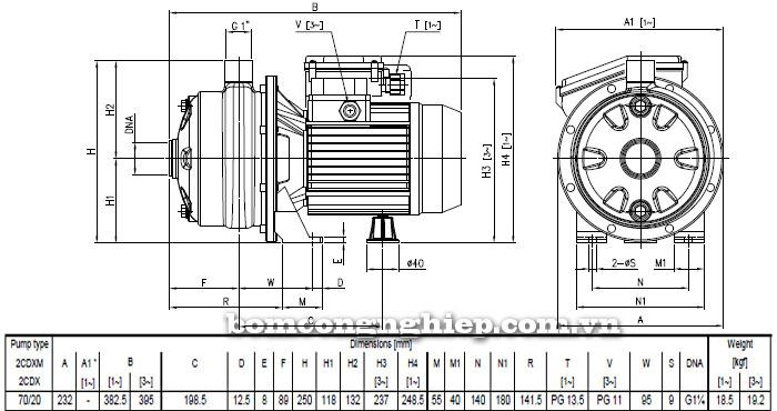 Máy bơm Ebara 2CDX 70/20 bảng thông số kích thước