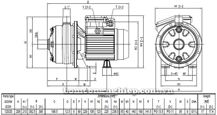 Máy bơm nước Ebara 2CDX 120/20 bảng thông số kích thước
