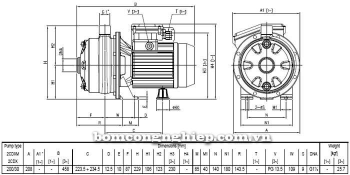 Máy bơm nước Ebara 2CDX 200/30 bảng thông số kích thước