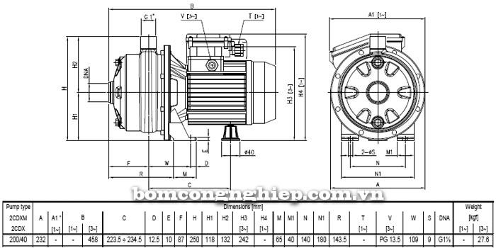 Máy bơm nước Ebara 2CDX 200/40 bảng thông số kích thước