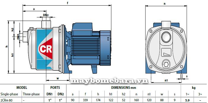 Máy bơm nước Ebara 2CRm 80 bảng thông số kích thước