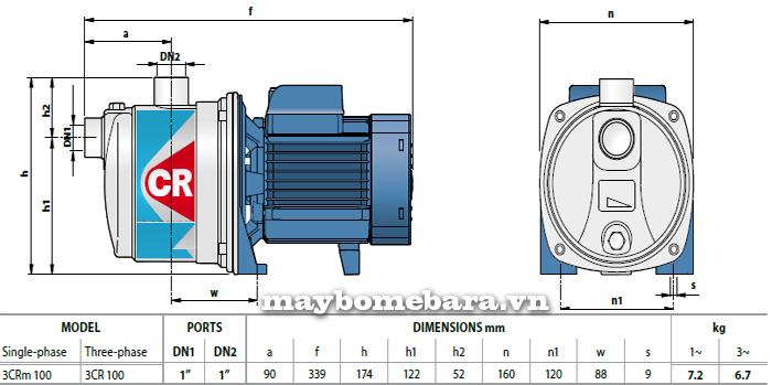 Máy bơm nước Ebara 3CRm 100 bảng thông số kích thước